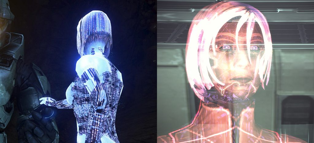 Cortana from HALO and a VI from Mass Effect