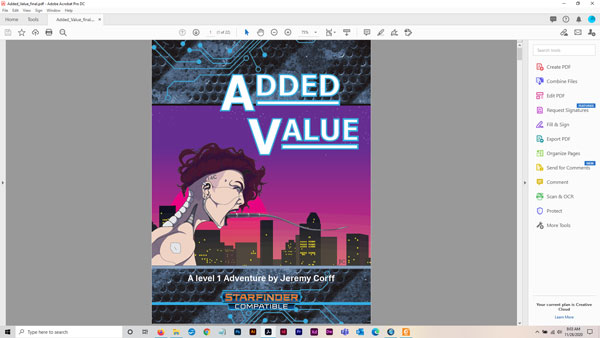Added Value - A level 1 Cyberpunk Style adventure for Starfinder