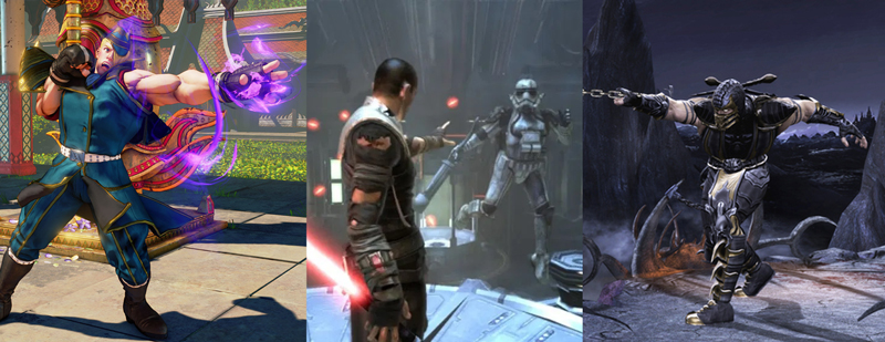 Street Fighter 5, The Force Unleashed, and Mortal Kombat