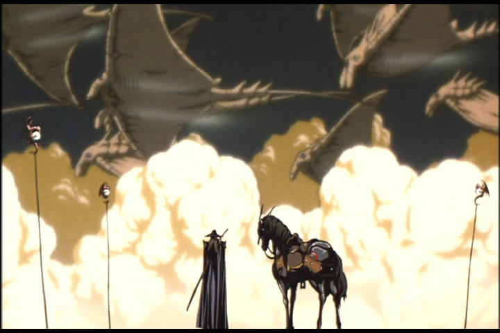 Still from Vampire Hunter D: Bloodlust showing D and the Rays