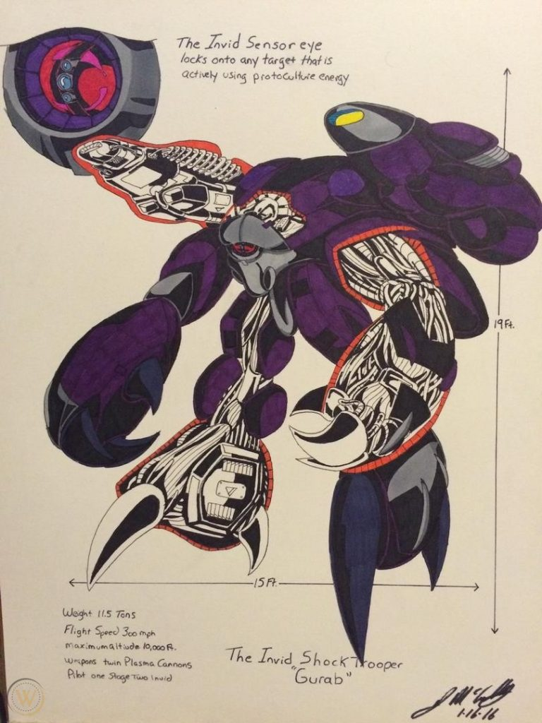 Invid Shocktrooper cutaway diagram